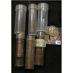 (5) Partial Tubes of Lincoln Cents & 1945 Walking Liberty Silver Half Dollar with attachement welded