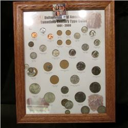 "Oak framed set of ""United States of America Twentieth Century Type Coins 1901-2000"", some of the coi"