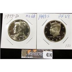 1973 D MS68 & 1993S Proof69 Kennedy Half Dollars.