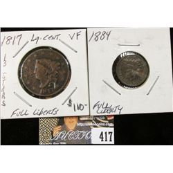 1817 U.S. Large Cent & 1884 Indian Head Cent, EF Weak strike.