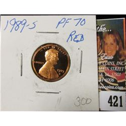 1989 S Lincoln Cent, Proof 70 Red.