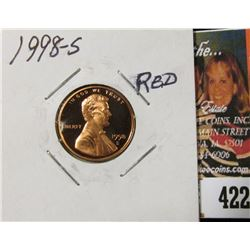 1998 S Lincoln Cent, Proof 70 Red.