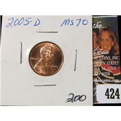 2005 D Lincoln Cent, Brilliant RED MS70.