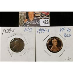1994 S Proof70 Red Lincoln Cent & 1929 S Lincoln Cent, Brown AU.