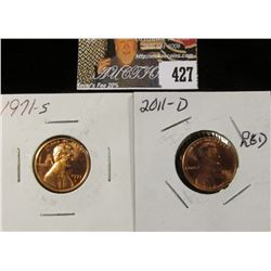 1971 S PF 68 & 2011 D MS 68 Red Lincoln Cents.