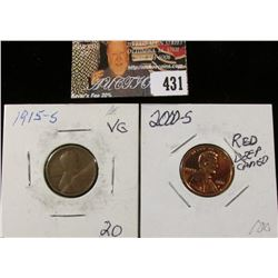 1915 S VG & 2000 S PR70 Deep Cameo Lincoln Cents.