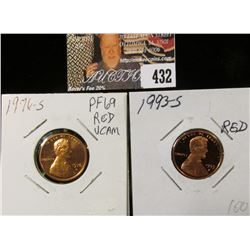 1976 S PF69 Red Deep Cameo & 1993 S PF70 Red Lincoln Cents.