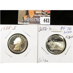 1988 S PF70 & 2006 S Silver PF70 Deep Cameo North Dakota Statehood Quarters.