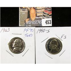 1990 S PR70 Cameo and 1963 PR70 Jefferson Nickels.