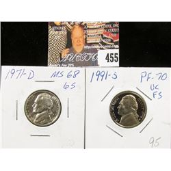 1991 S PR70 Cameo and 1971 D MS68 Jeferson Nickels.