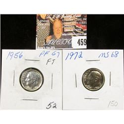 1956 PR67 and 1972 P MS68 Full Torch Lines Roosevelt Dimes.