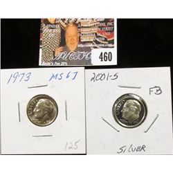 2001 S PR60 and 1973 P MS67 Full Torch Lines Roosevelt Dimes.