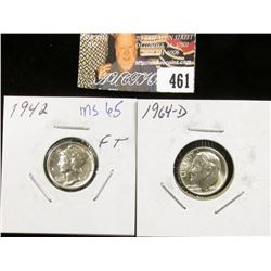 1942 P Mercury and 1964 D MS69 Roosevelt Dimes.