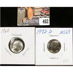 1960 P MS69 and 1972 D MS69 Full Torch Lines Roosevelt Dimes.