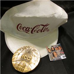 "White & Red Coca-Cola Cap & 1886-1986 Coca-Cola Distributor Large Bronze Medal, 3"" x 1/4"", depicts 1"