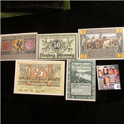 (5) Different Crisp Uncirculated German Notgeld Banknotes, 1920-21 era, includes 25 pfennig, 50 pfen