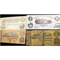 (2) Replicas of  Old Feb. 17, 1864 $5 Civil War Bank Note, poor condition; post card depicting $500