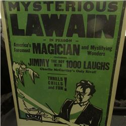 "Large Poster ""Mysterios Lawain in Person America's Foremost Magician and Mystifying Wonders featurin"