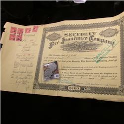 "1928 Cancelled Stock Certificate for 4 Shares of ""Security Fire Insurance Company Davenport, Iowa"" S"
