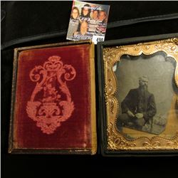Civil War Era Tin Type in embossed leather case with gold-colored frame. Lid and box may not match.