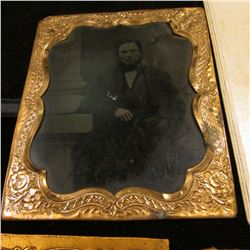 Group of Civil War era Tin types & Black and White Photos, (3) have gold-colored frames.