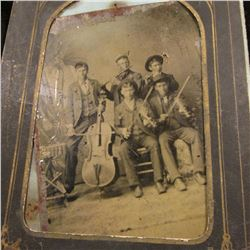 Group of Civil War era Tin types & Black and White Photos,one has a gold-colored frame, another depi