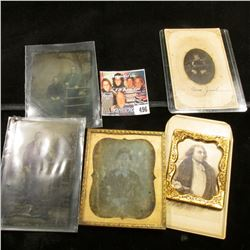Group of Civil War era Tin types & Black and White Photos,and  a gold-colored frame.