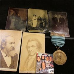 Group of Civil War era Tin types & Black and White Photos; & a medal with ribbon 1922 Sesquicentenni