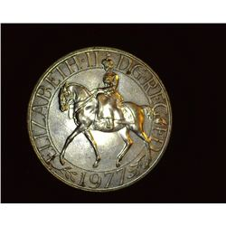 1977 Queen Elizabeth II 'Equestrian' Great Britain Crown, Brilliant Uncirculated.