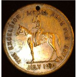"July 1910 ""The Excelsior Shoe For Boys Medal"", Equestrian design, holed, 'Swatika' reverse, EF."