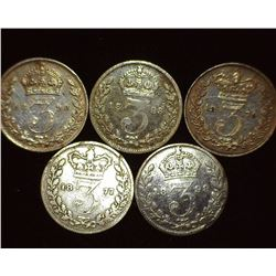 1877, 1879, 1893, 1898, & 1899 Great Britain Silver Three Pence Coins.