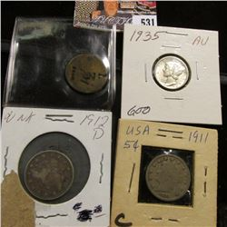 Three Drachm European Token; 1911 VG & 12 D Liberty Nickels, VG-F; & 1935 P Mercury Dime, AU.