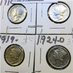1916 P, S, 19 P, & 24 D Mercury Dimes, possibly cleaned, all VF.