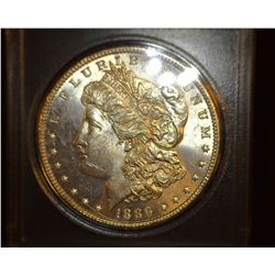 1886 P Morgan Silver Dollar, Brilliant Gem Uncirculated.