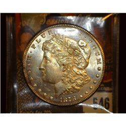 1878 S Morgan Silver Dollar, Brilliant Uncirculated, Light toning.