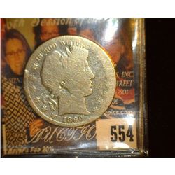 1896 S Barber Half Dollar, AG. Rare Date. Redbook $115 in good.