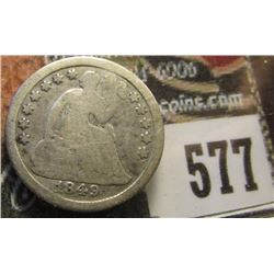 1849, 9 over 6 U.S. Seated Liberty Half Dime, Good.