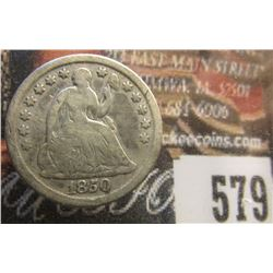 1850 U.S. Seated Liberty Half Dime, Good.