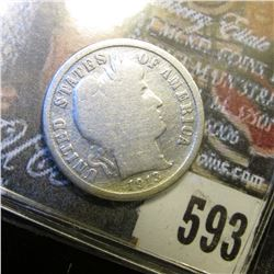 1913 S U.S. Barber Dime. Good. Red Book value $35.00.