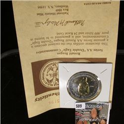"""Ronald Reagan Series AA ""Double Eagle"" Commemorative"" with COA guaranteed to be layered in pure .99"