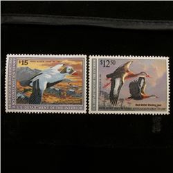 1990 & 1992 Mint, unsigned U.S. Department of the Interior Migratory Waterfowl Stamps, some gum.