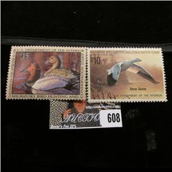 1988 & 1993 Mint, unsigned U.S. Department of the Interior Migratory Waterfowl Stamps, some gum.