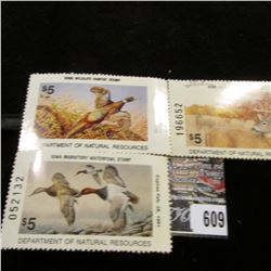 1990 Signed, 1992 Signed Iowa Habitat;  1990 Iowa Migratory Waterfowl Stamp, unsigned.
