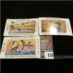1991 Signed Iowa Wildlife Habitat Stamp; & 1991 & 1992 Iowa Migratory Waterfowl Stamp, unsigned.