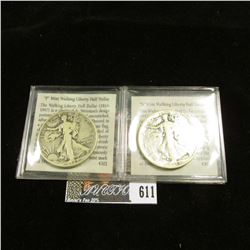 1942 P & 44 S Silver U.S. Walking Liberty Half Dollars issued during World War II, Circulated with c
