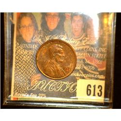 197- D Lincoln Cent Mint error missing the last digit of date. AU with spots.