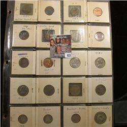 20-pocket Plastic page full of U.S. Coins: (3) Indian Head Cents; (7) Lincoln Cents; (2) Liberty Nic