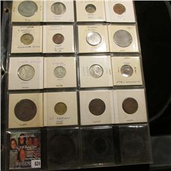 20-pocket Plastic pagewith (16) Different World Coins including Silver.