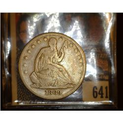 1869 S Liberty Seated Half Dollar, VG.