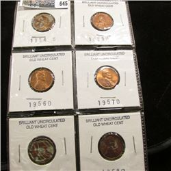 1954S, 55D, 56D, 57D, 58P, & D Lincoln Cents, Brilliant Uncirculated.